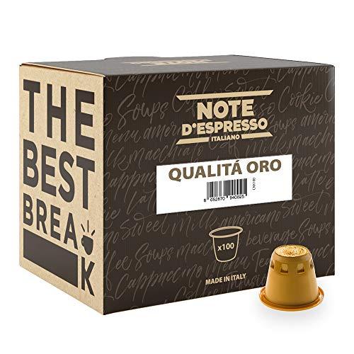Note D'Espresso Capsule Compatibili con Sistema Nespresso, Caffè Qualita d'Oro, 100 caps