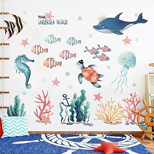 WandSticker4U®- XXL Aquarelle Wandtattoo UNTERWASSERWELT I Wandbilder: 141x118 cm I Fische Ozean Meer Wal See-pferdchen Schildkröte Maritim Fliesen-aufkleber I Wand Deko Kinderzimmer Kinder Bad GROSS