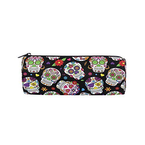 KUWT Pencil Bag Day of The Dead Floral Sugar Skull, Pencil Case Pen Zipper Bag Pouch Holder Makeup Brush Bag for School Work Office