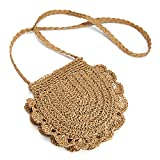 Crossbody Bag Donna, JOSEKO Retro Mori Fungus Lace Straw Bag Casual Woven Bag Shoulder Slung Beach Bag Handbag (Marrone)