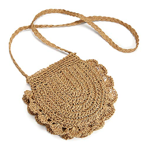 JOSEKO Bolso tejido de paja, bolso de hombro de verano, bolso de hombro tejido de paja para mujer para viajes diarios a la playa (marrón claro)