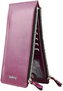 Small Purple Vegan Leather Double Zipper Slim Bifold Snap Wallet for Women, Compact with Large Capacity