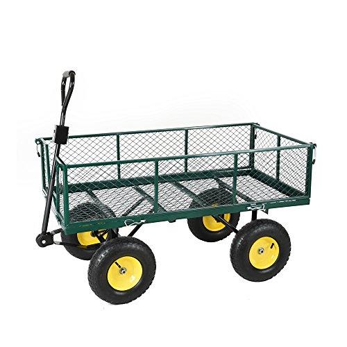 Heavy Duty Large Garden Trolley Cart Truck 4 Wheels Transport Metal...