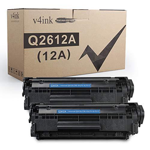 V4INK 2PK Compatible Toner Cartridge Replacement for HP 12A Q2612A Toner for HP Laserjet 1010 1012 1018 1020 1022 1022N 3015 M1005 M1319F Canon D420 D450 D480 MF 4150 4350D 4370DN Printer