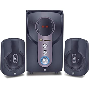 iBall Hi-Basss 2.1 Speaker – Built-in FM Radio and Multiple Equalizers with LED Display and Remote Control, Black