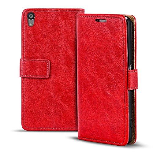 Verco Xperia Z2 Hülle, Premium Handy Schutzhülle für Sony Xperia Z2 Hülle PU Leder Wallet Tasche Retro Flipcase, Rot