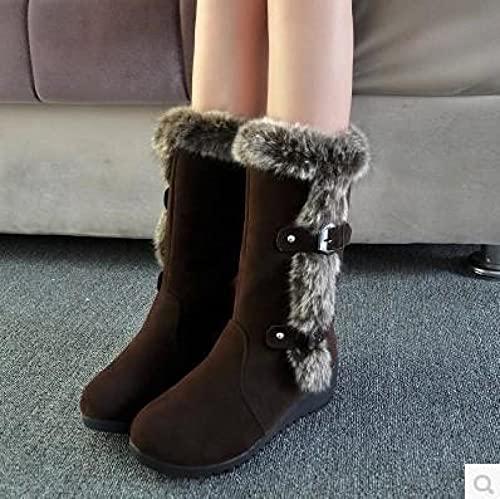 QAZW Botas de Nieve de otoño e Invierno, Botas de algodón de Suela Gruesa, cuñas, Botas de Mujer, Botas universitarias,B-40EU