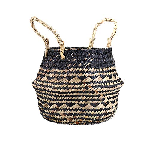 The Basket Company Hand-held living room decoration pastoral hand-woven flower pots green flower arrangement succulent wall hanging seaweed decoration