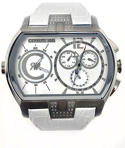 Cerruti 1881 Diamond Herren Chronograph GMT Watch 57 x 40 mm weiß mit Diamanten