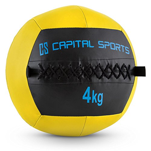 CapitalSports Wallba 4 Balón Medicinal de Cuero sintético (Peso 4 kg, Forro Exterior, Costuras resistententes, Superficie manejable, Esfera Ejercicios Gimnasia, Pelota Agarre Adecuado para entrenami