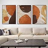 ZHJJD Hojas abstractas Marrón Naranja Cuadros e Impresiones Cuadro de Lienzo Moderna Imágenes artísticas Mural Minimalistas para la Sala de Estar Decoración del hogar 50x70cmx3 Sin Marco