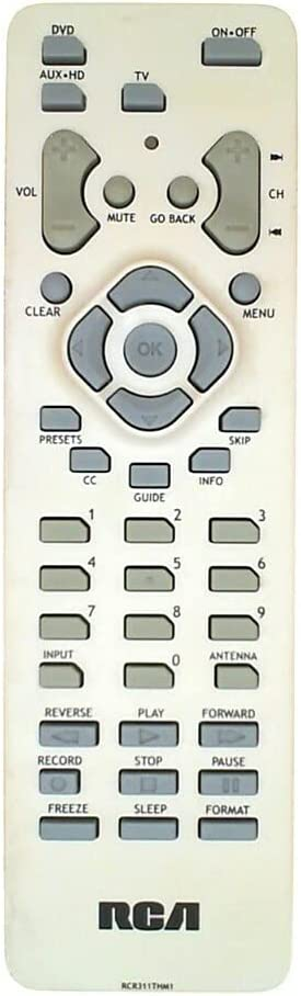 RCA TV Remote Control RCR311TKM1 RCR311THM1 265092 Supplied with models: HD52W55 HD52W56 HD52W58 HD56W58 HD56W58YX1 D27F750 D32F750 D52W23 D52W25 D52W26 D56W19 HD52W59 HD52W64 HD52W65 HD52W67 HD56W65