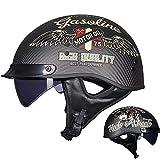 LALEO Personalidad Cool Vintage Harley Cascos Moto Half-Helmet, Forro Extraíble Ultraligero Alta Dureza Fibra de Carbono Transpirable Adulto Hombres Mujeres Dot Certificado,Motorcyclegirl,XXL