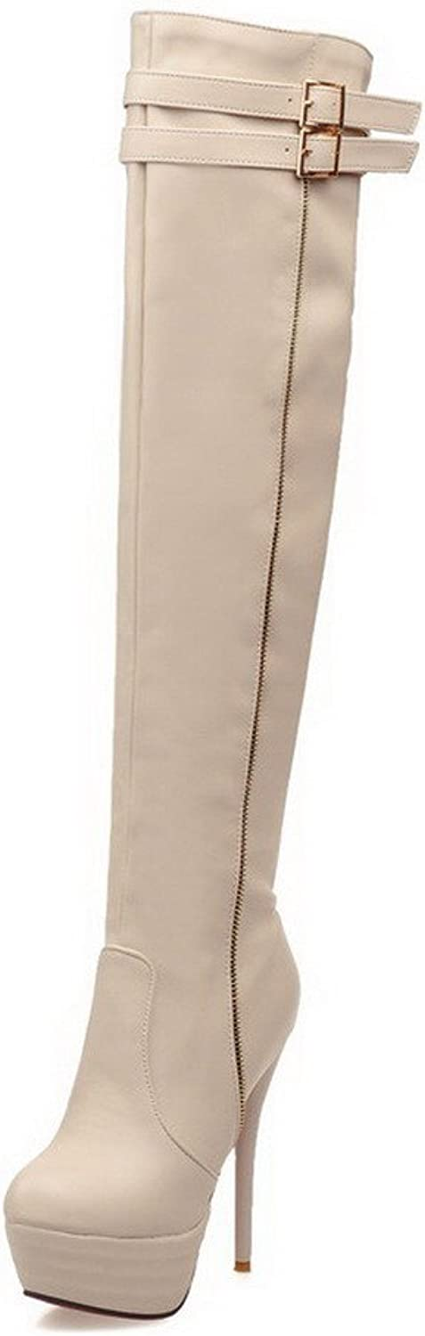 WeiPoot women's Blend Materials Solid Closed-toe Boots with Metal Ornament