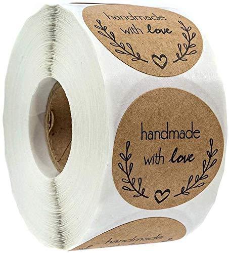 Geschenk Anhänger mit Liebe Aufkleber Label Papier Etiketten Rund Selbstklebend Geschenkaufkleber Geschenksticker für Backen Geschenktüten Hochzeit Thanksgiving Valentinstag (500 PACK)