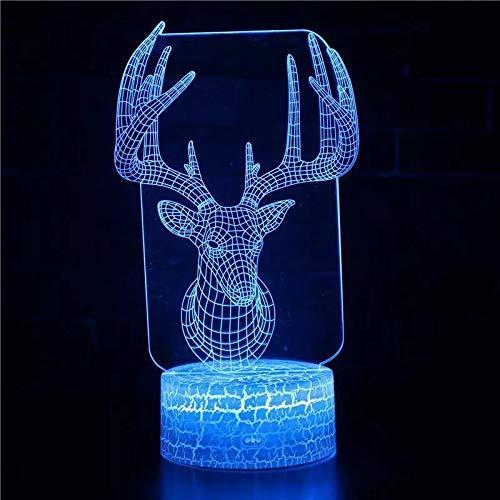 Lámpara de atmósfera 3D con cabeza de ciervo, lámpara de mesa LED, decoración navideña, luz nocturna 3D multicolor, regalo de vacaciones, decoración, lámpara de mesa