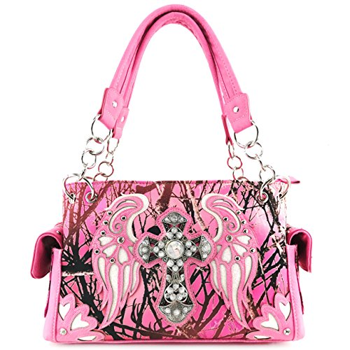 Justin West Camouflage Tree Bling Rhinestone Angel Wing Cross Shoulder Concealed Carry Handbag Purse (Rose Handbag Only)