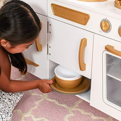 KidKraft Exclusive Edition Modern White Play Kitchen with Gold Accents /& 27Piece Cookware Set