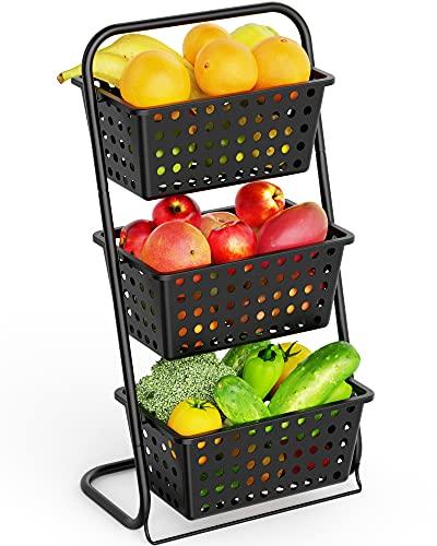 Packism - Soporte para cesta de frutas (3 niveles, con cesta de plástico extraíble para frutas, verduras, aperitivos, patatas, cesta de piso, para cocina, baño, color negro