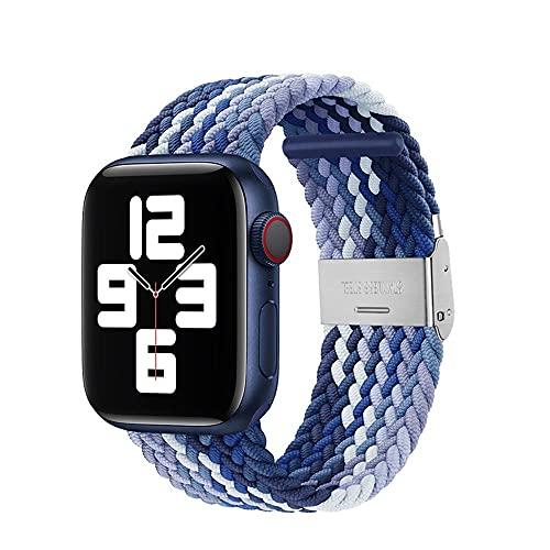 VeveXiao Solo Loop Correa compatible con Apple Watch SE Band 38 mm 40 mm 42 mm 44 mm hombres mujeres trenzado ajustable Solo Loop elástico deporte pulsera para iWatch Series 6/5/4/3/2/1, 42mm/44mm,