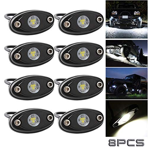 LEDMIRCY LED Rock Lights White Kit 8PCS for Off Road Truck Car Boat ATV SUV Waterproof High Power Underbody Neon Trail Lights Underglow Lights Interior Exterior Shockproof(8PCS-White)