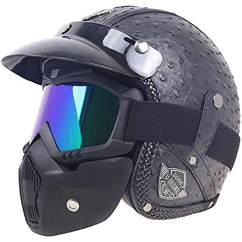 LAMZH Casco de motocicleta retro Harley ultraligero para hombres y mujeres, casco de motocross, casco eléctrico, casco de equitación para motocicleta, protección (color: negro 4, tamaño: M 57)