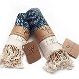 Smyrna Original Turkish Hand Towels Set of 2 | 100% Cotton, 16 x 40 Inches | Decorative Bathroom Peshtemal Towel for Hand, Face, Hair, Gym, Yoga, Tea, Dishcloth, Kitchen and Bath (Navy)