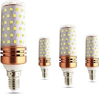 MD Lighting 16W E12 Corn Bulbs Candelabra LED Light Bulb (4 Pack)- 80 LEDs 2835 SMD 1600LM Daylight White 6000K Chandelier Decorative Bulb 130 Watt Equivalent for Home Lighting, Non-Dimmable, AC 120V