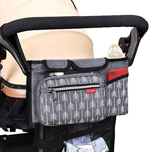 Lekebaby Kinderwagen Organizer Buggy Organizer Kinderwagentasche mit Isoliertem Getränkehalter inkl. Kinderwagenbefestigung, Grau