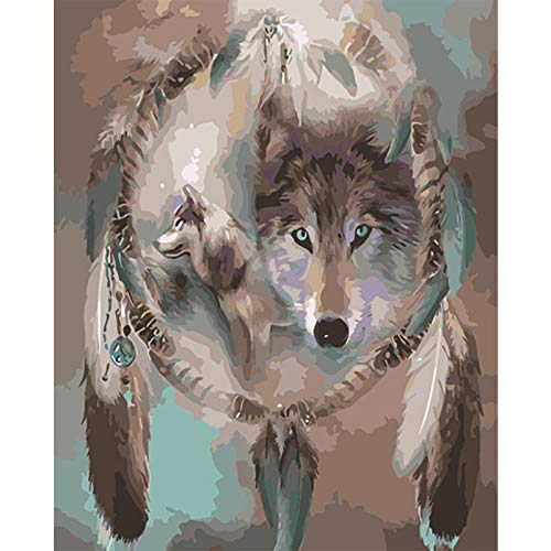 DIY Painting by Number Kits,Oil Paint Drawing Color Beginners and Art Training Bottom Canvas with Brushes Christmas Decor Decorations Gifts Wolf