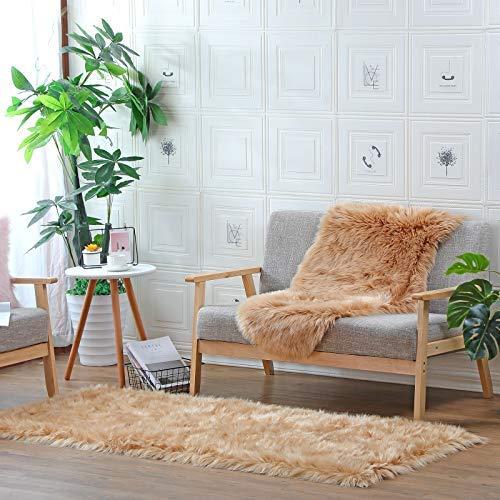 DAOXU Piel de Imitación,Cozy sensación como Real, Alfombra de Piel sintética Lavable para sofá o Dormitori (80 x 180cm, Marrón)