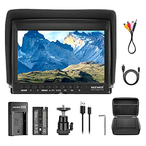 Neewer F100 7 Inch Camera Field Monitor HD Video Assist Slim IPS 1280x800 4K HDMI Input 1080p with 2600mAh Li-ion Battery/USB Charger,Carrying Case for DSLR Cameras, Stabilizer, Film Video Making Rig