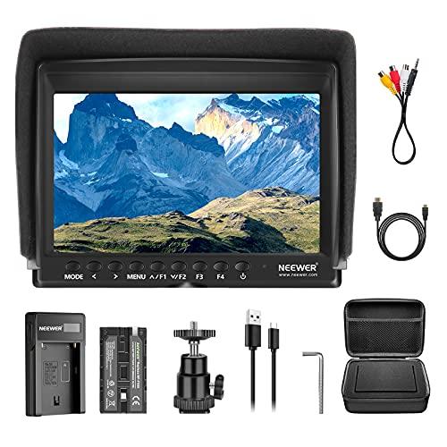 Neewer F100 Kit con Monitor da Campo per Videocamera: 7' Ultra HD 1280 x 800 IPS Monitor da Campo + Batteria di Ricambio F550 + Caricatore Micro USB + Custodia per Sony, Nikon, Olympus e Panasonic