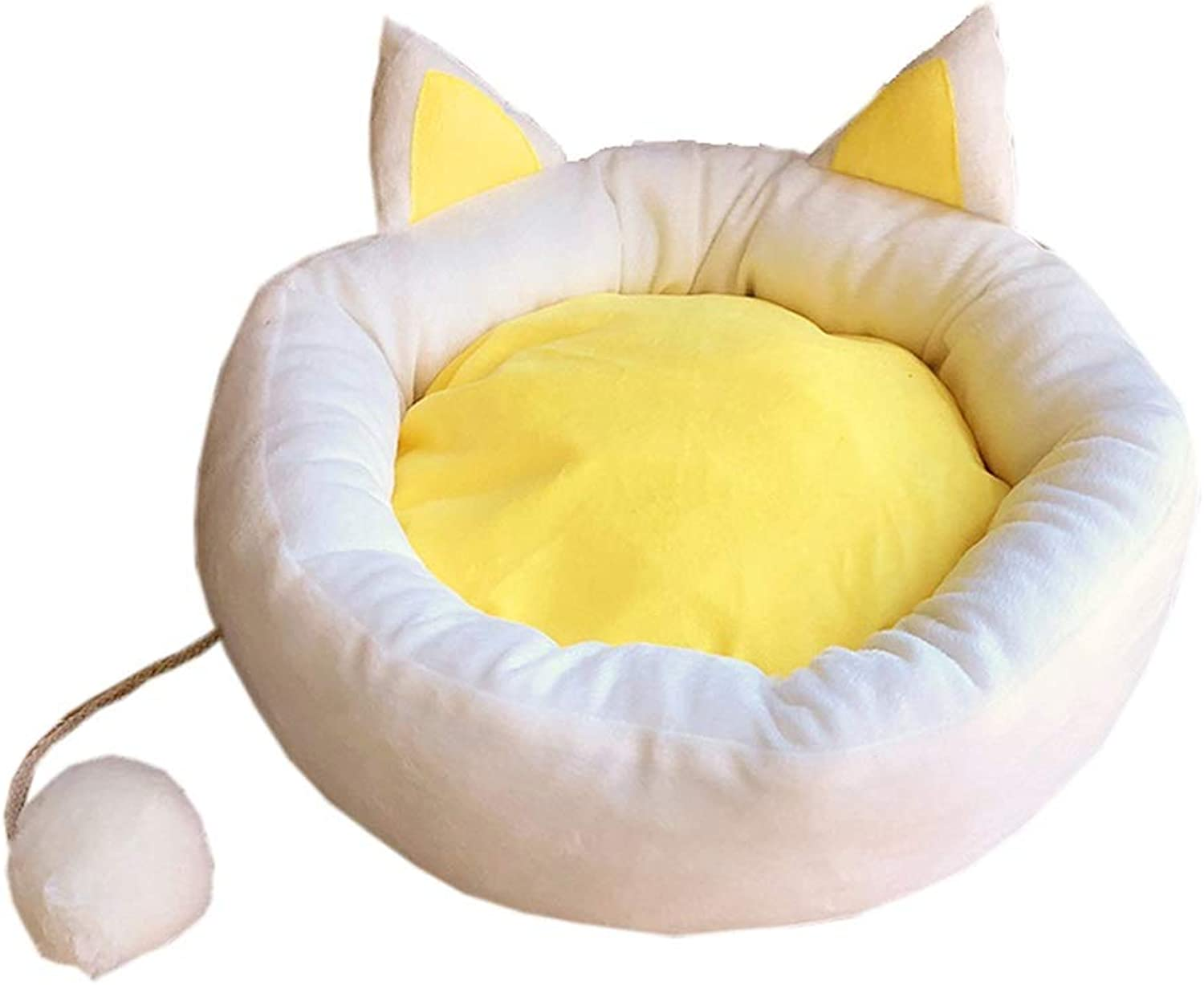 SMMBM Egg Yolk Cat Nest Four Seasons Universal Cushion Removable and Washable Cat Supplies, Small Kennel, Three Sizes Pet Bed (Size   52CM)