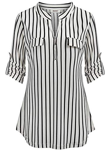 BEPEI Tunics for Women,Rounded Hem Simple Pattern Black White Vertical Stripe Shirts Western Blouses Undershirts Teenage Cut Loose Yoga Workout Fitness Athleisure Top L