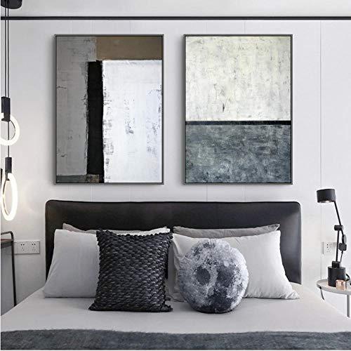 Nordic zwart wit grijs muur kunst canvas schilderij prints abstracte lijn kleur stuk posters voor woonkamer huis Decor-50X70Cmx2 geen frame