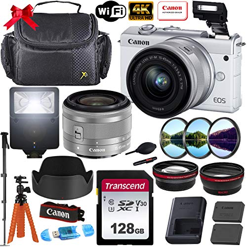 Canon EOS M200 Mirrorless Digital Camera 4K with 15-45mm f/3.5-6.3 is STM Lens (White) + Photo Accessory Bundle (Includes: 128GB Memory Card, Digital Flash, Sturdy Equipment Carrying Case and More.)