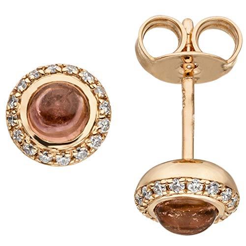 JOBO Damen-Ohrstecker aus 585 Rosegold mit Turmalin und 32 Diamanten