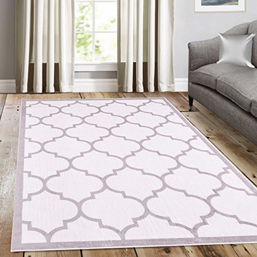 A2Z Rug Trendy Geometric Trellis  White 200x290cm - 6'7'x9'6'ft, Contemporary Large Area Rugs