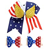 4th of July Large Cheer Bows with Gold Wing Girls Red White Blue Patriotic Gymnastics Elastic Hair Ties Ponytail Holder Toddlers Kids USA America Flag Cheerleader Fourth Goddess Glitter Leather Hair Clips Independence Day Stars Stripes Decor Accessories For Teens Women Gymnast School College Birthday Gift