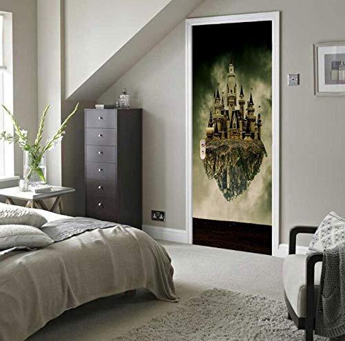 Muursticker 3D Top Mountain Retro Sticker op de deur van het slot aan de muur van de studio, PVC-behang, zelfklevend, waterdicht, 77 x 200 cm