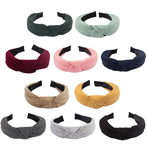 Jaciya 10 Pieces Knotted Headbands for Women Solid Headbands for Women Wide Headbands for Women Knot Headband 10 Colors Diademas para Mujer Headband for Women Cloth Headbands Knot Headband for Women