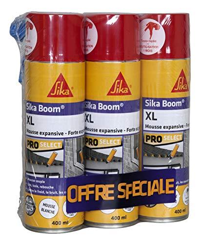 Sika Boom XL, Mousse expansive blanche d'isolation thermique et acoustique et remplissage de cavités, Lot de 3x400ml