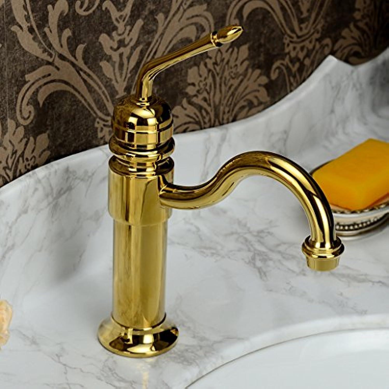 XPYFaucet Wasserhahn Armatur Mischbatterie Klassisches Einloch-Waschtischbecken, antikes Gold, Gold