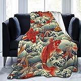 Katara Decor TENAIKI Japanese Artist Throw Blanket Ultra Soft Fleece Blanket Flannel All Season Light Weight Living Room/Bedroom Warm Blanket,Black,50'X40'