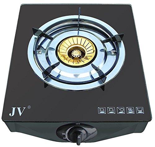 JV Edelstahl-Propangaskocher 2-flammig mit Glasplatte