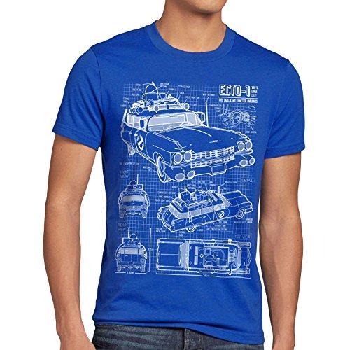 style3 ECTO-1 Blaupause Herren T-Shirt geisterjäger, Größe:XL, Farbe:Blau