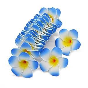 ShineBear 10Pcs 5CM/6CM/7CM/8CM9CM Plumeria Foam Frangipani Flower Artificial Silk Fake Egg Flower for Wedding Party Home Decoration 7Z – (Color: H11, Size: 8CM)