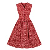 Wellwits Women's White Floral in Red Button up 1950s 1960s Vintage Dress 4XL