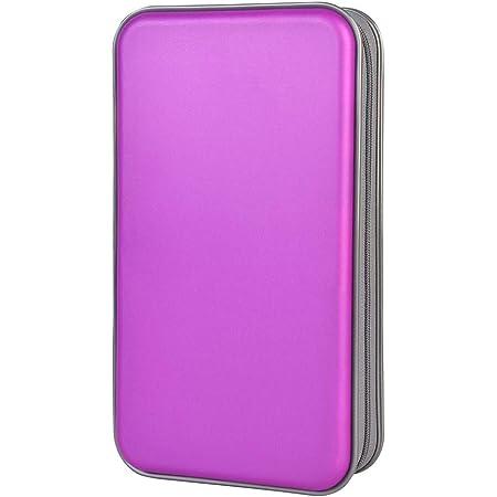 Estuche de CD, Alachi EU 96 Capacidad de plástico Duro Cremallera de Viaje Estuche de Billetera de Almacenamiento de CD (96 Capacidad, Púrpura)